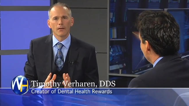 Photo of video clip of Dr. Timothy Verharen explaining the benefits of Dental Health Rewards